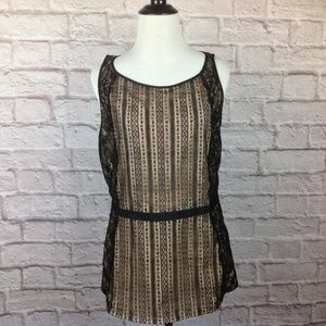 Ann Taylor LOFT Top Women 6T 6 Tall Black Lace